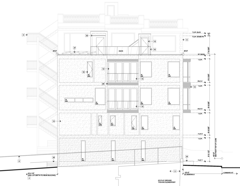 939 Lombard Street side elevation, illustration by Curtis Hollenbeck
