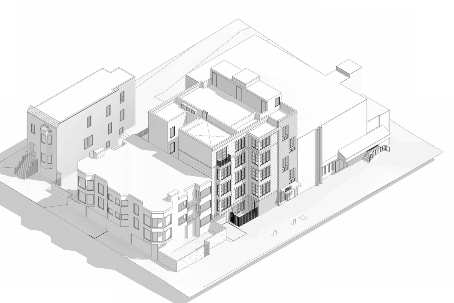 986 South Van Ness Avenue aerial perspective, rendering by Kotas Pantaleoni Architects