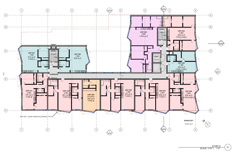 988 Harrison Street level 8 floor plan, design by RG Architecture