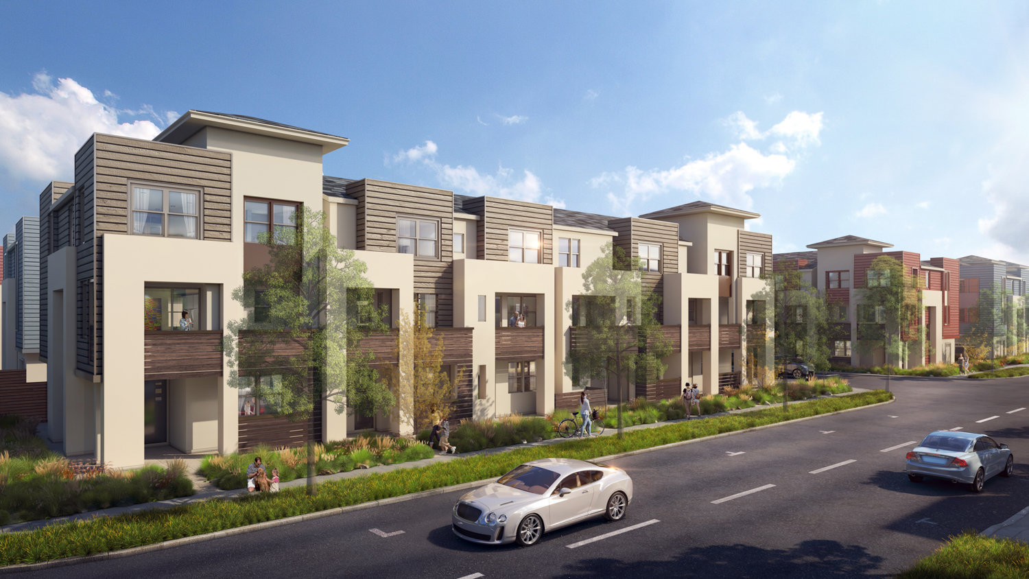 City Village new towns looking over the street, rendering courtesy Summerhill Homes