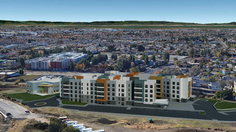 La Vista Apartments and the Hayward skyline, design by Architect Orange