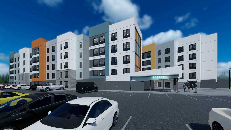 La Vista Apartments view from parking lot, design by Architect Orange