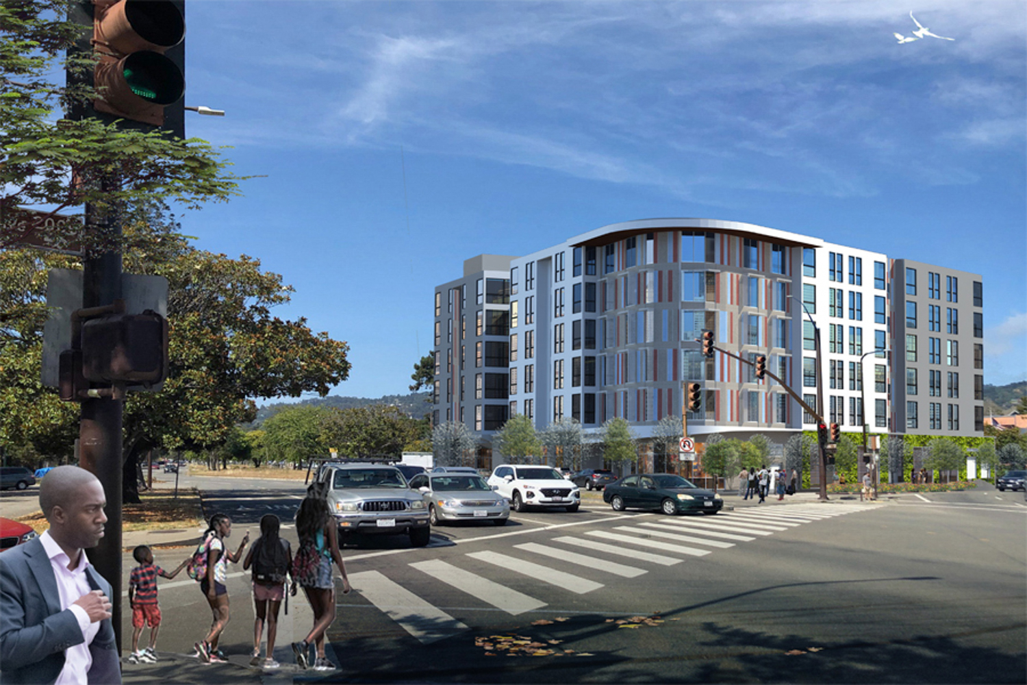 Maudelle at 2001 Ashby Street full view from across Asbhy, rendering courtesy RCD Housing