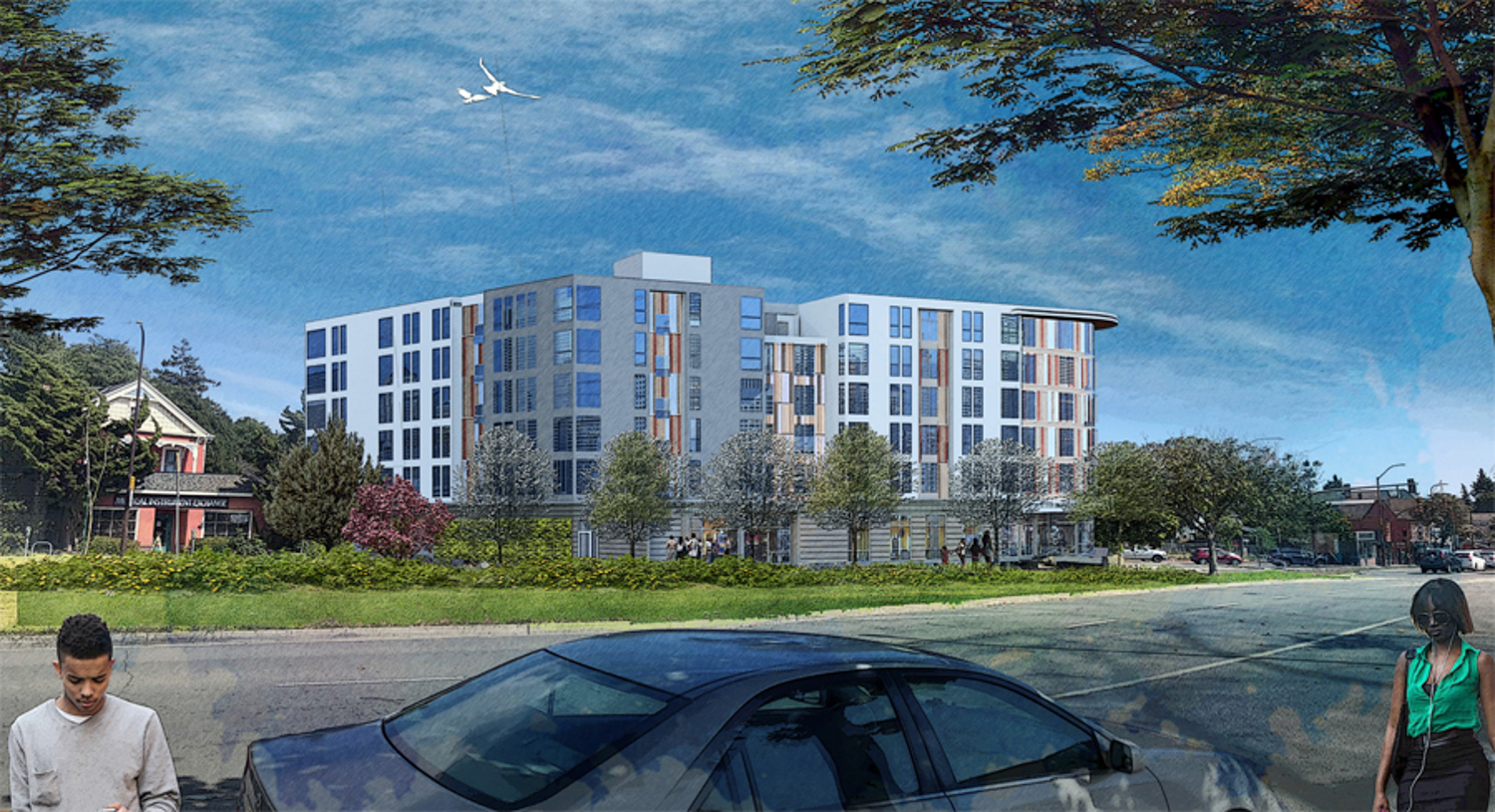 Maudelle at 2001 Ashby Street side-view, rendering courtesy RCD Housing