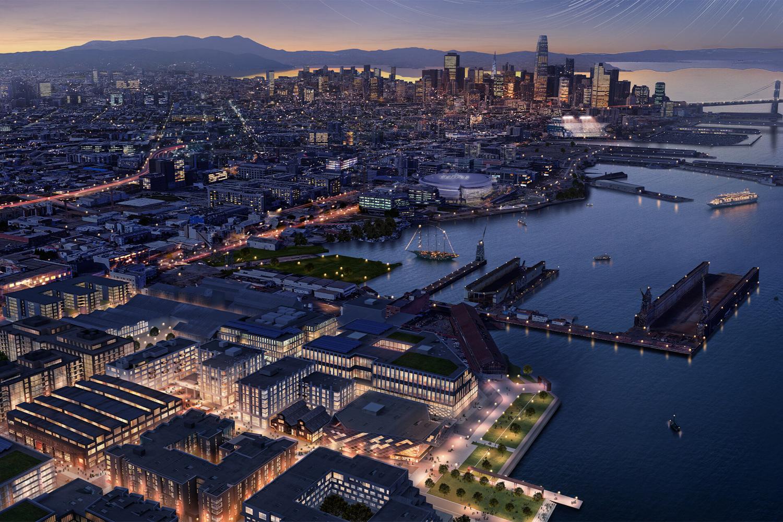 Pier 70 aerial view, rendering courtesy HACKER
