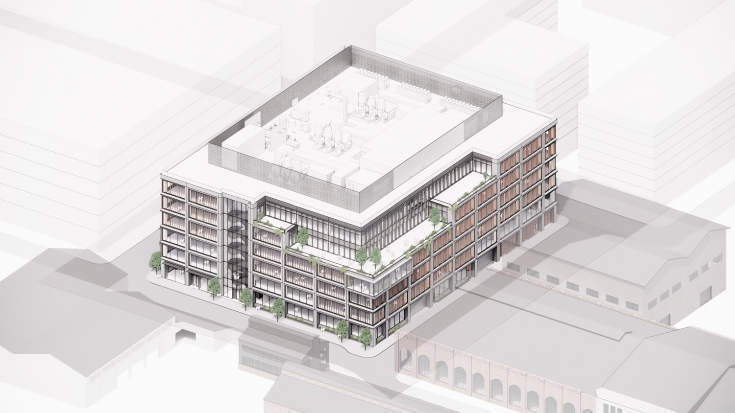 Pier 70's Parcel A at 88 Maryland Street axonometric aerial view, design by DES and Grimshaw