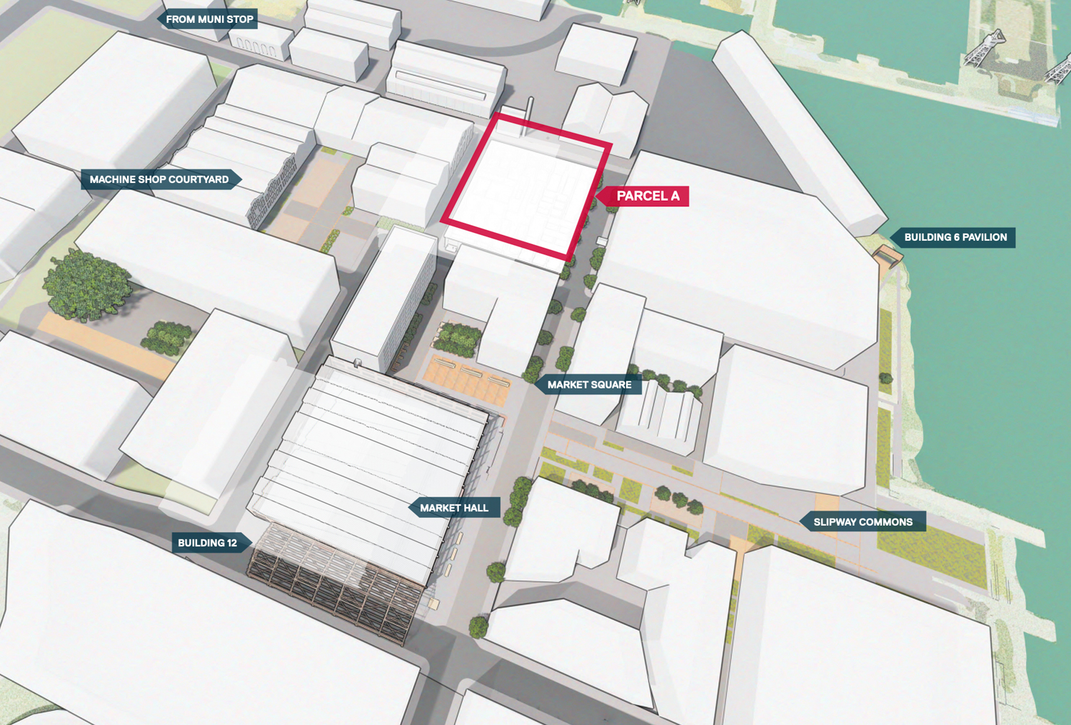 Pier 70's Parcel A at 88 Maryland Street site highlighted in red, image courtesy planning documents