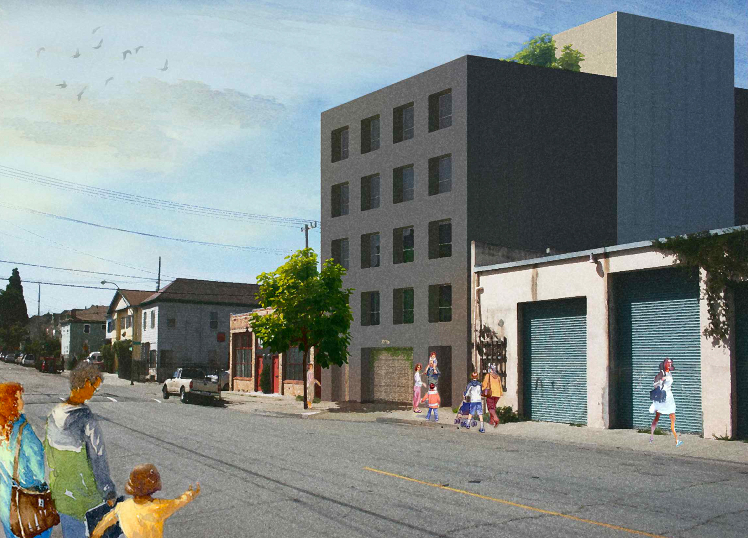 Preliminary design mock-up for 2211 West Street, development by Waters and Waters Inc