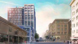 1101-1123 Sutter Street, rendering by David Baker Architects
