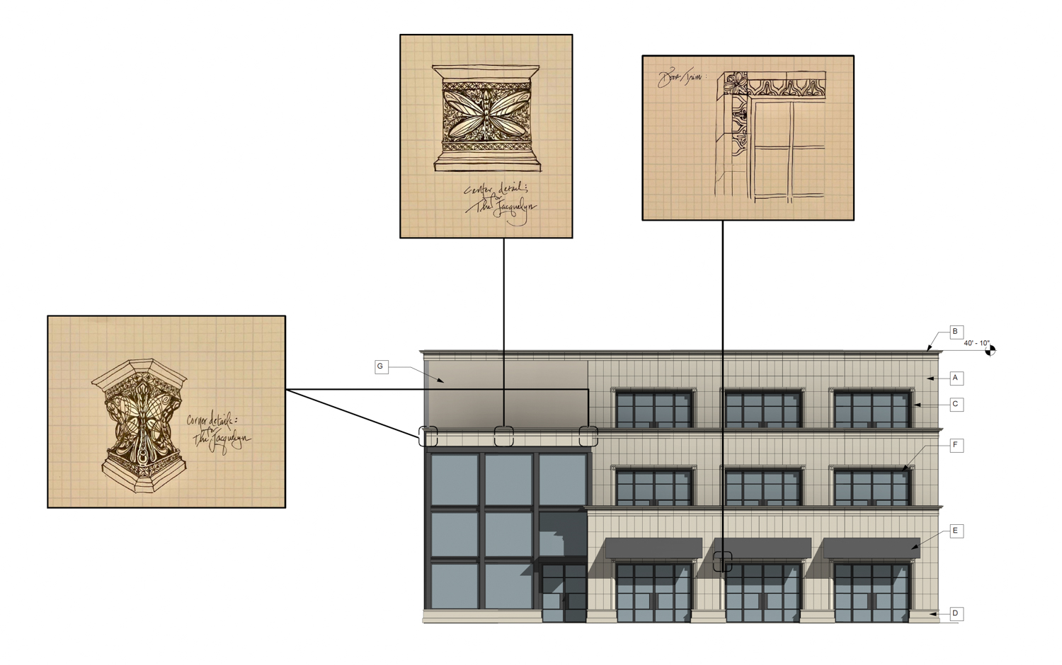 1114 22nd Street east elevation with concept for custom terracotta elements, drawings by Williams + Paddon Architects
