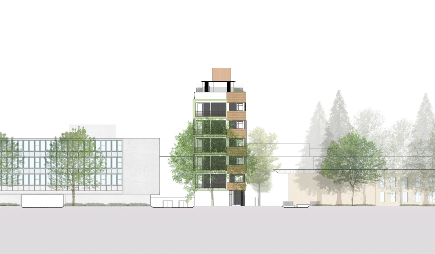 1412 Bellevue Avenue context elevation, rendering by MH Architects