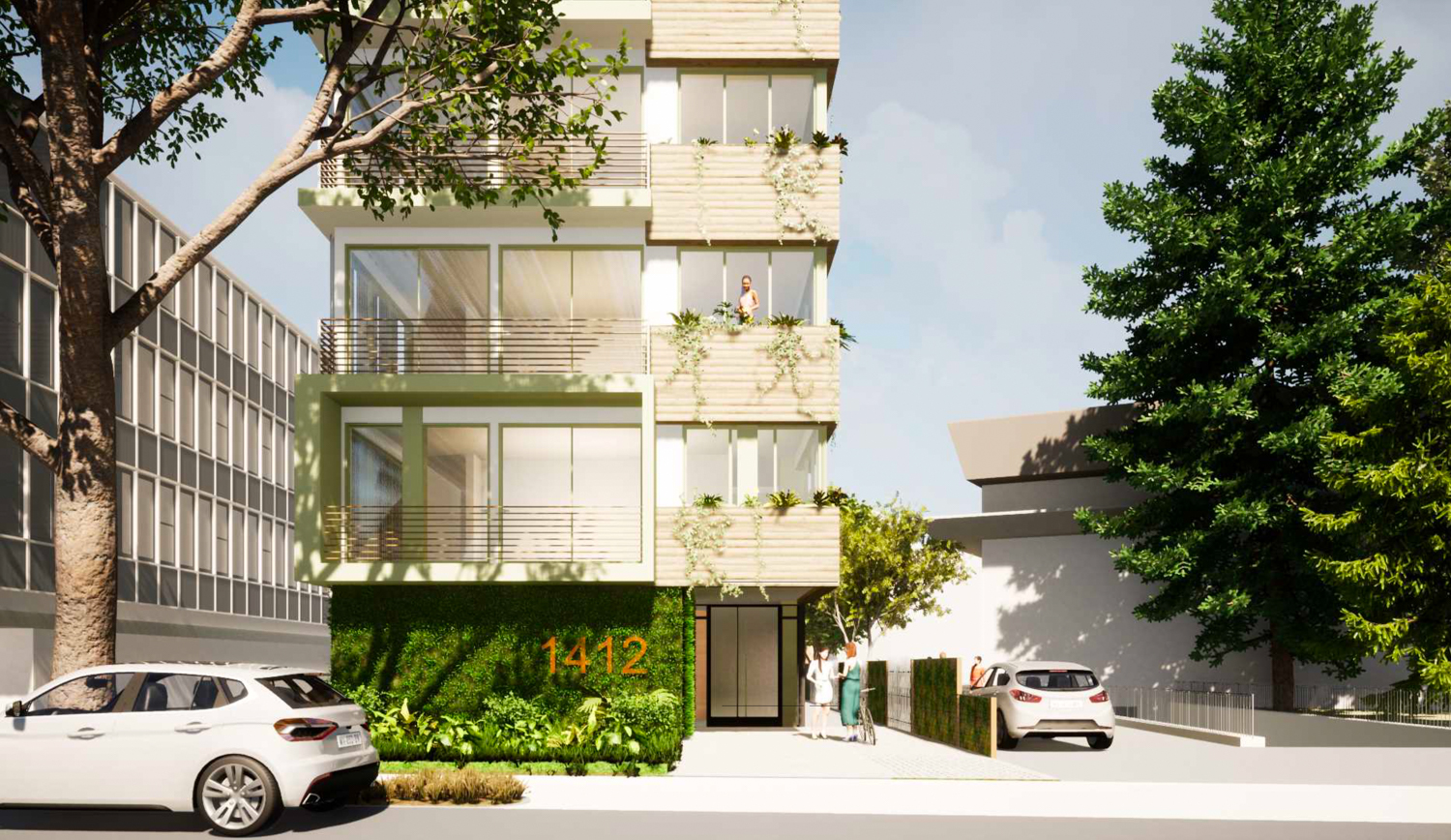 1412 Bellevue Avenue entrance view, rendering by MH Architects