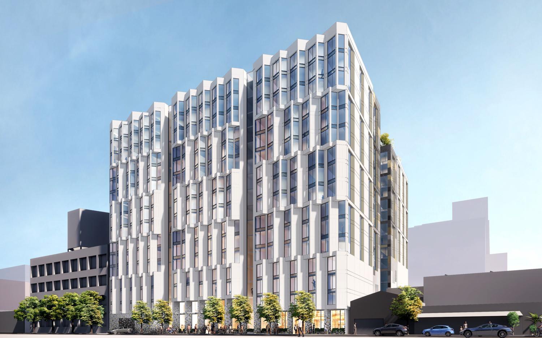555 Bryant Street establishing view, rendering by Solomon Cordwell Buenz