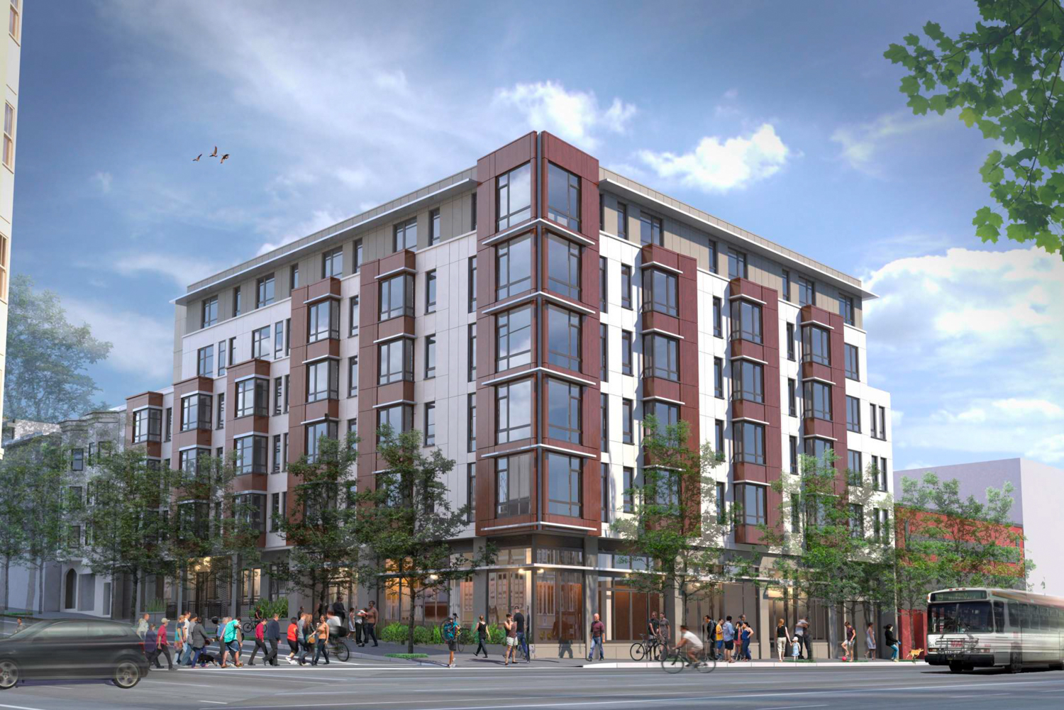 650 Divisadero Street viewed from the corrner of Grove and Divisadero Street, rendering by Ankrom Moisan Architects
