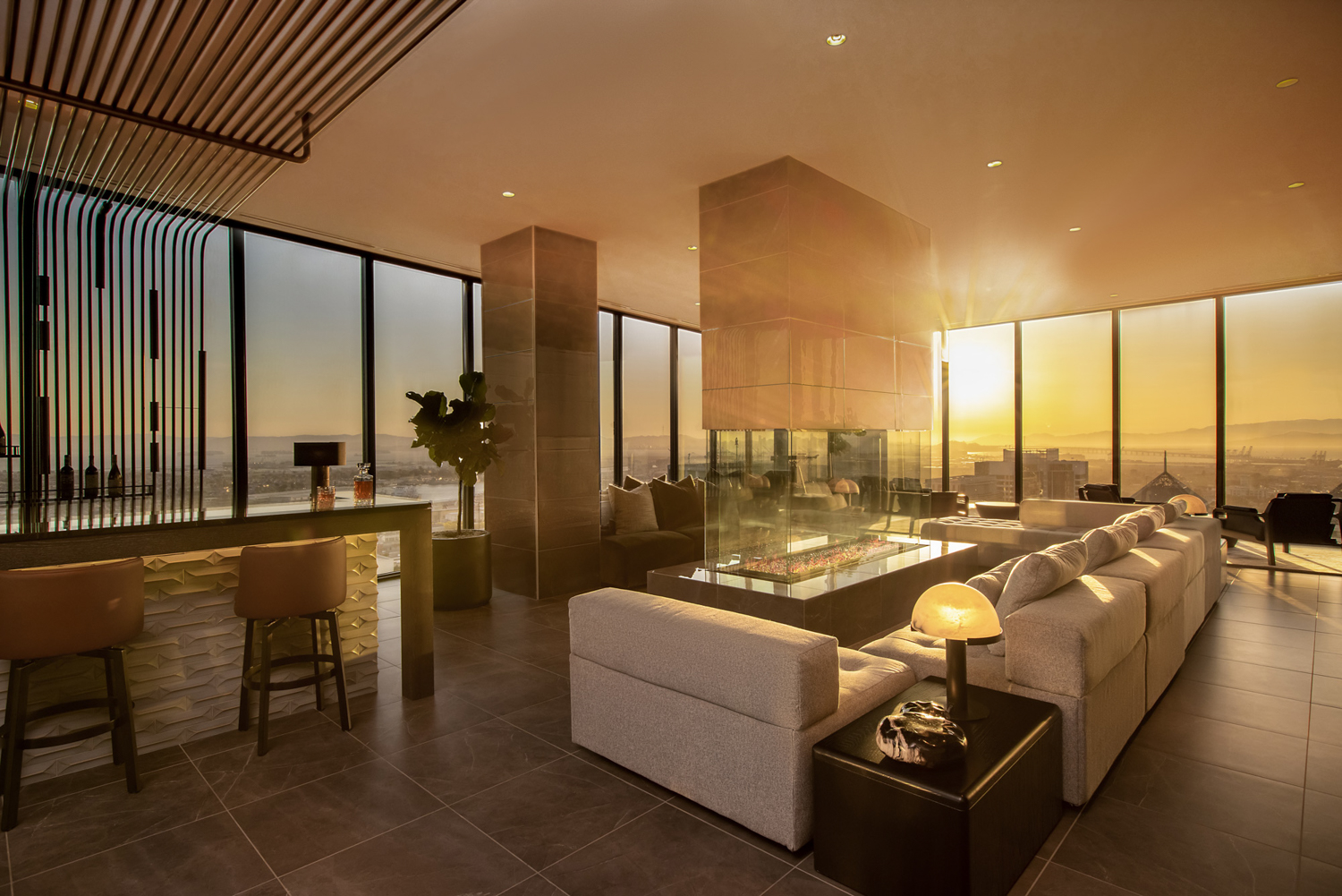 Sunset Lounge during golden hour in the Atlas at 385 14th Street, architecture by SCB