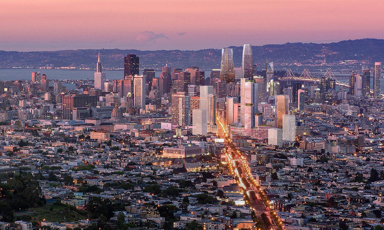 10 South Van Ness Avenue skyline view, image via Crescent Heights
