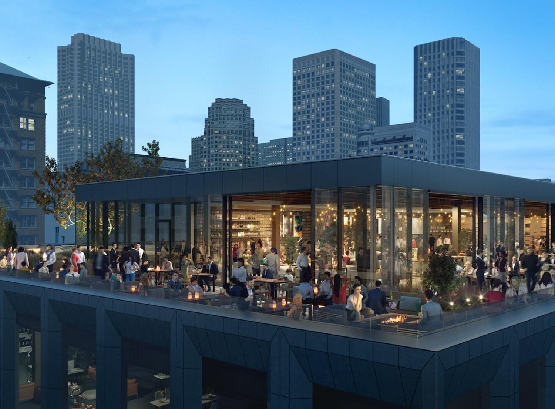 100 Stockton Street rooftop bar, design by Gensler