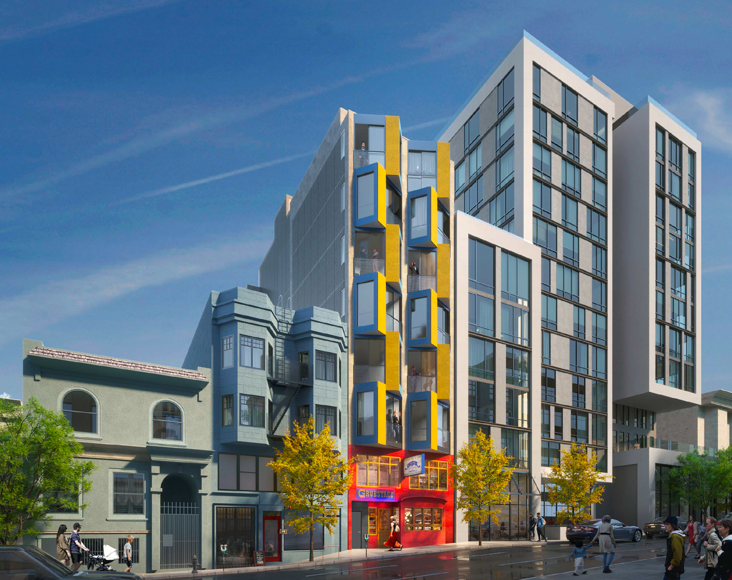 1525 Pine Street with the Grubstake facade at ground-level, rendering by Kerman Morris Architects