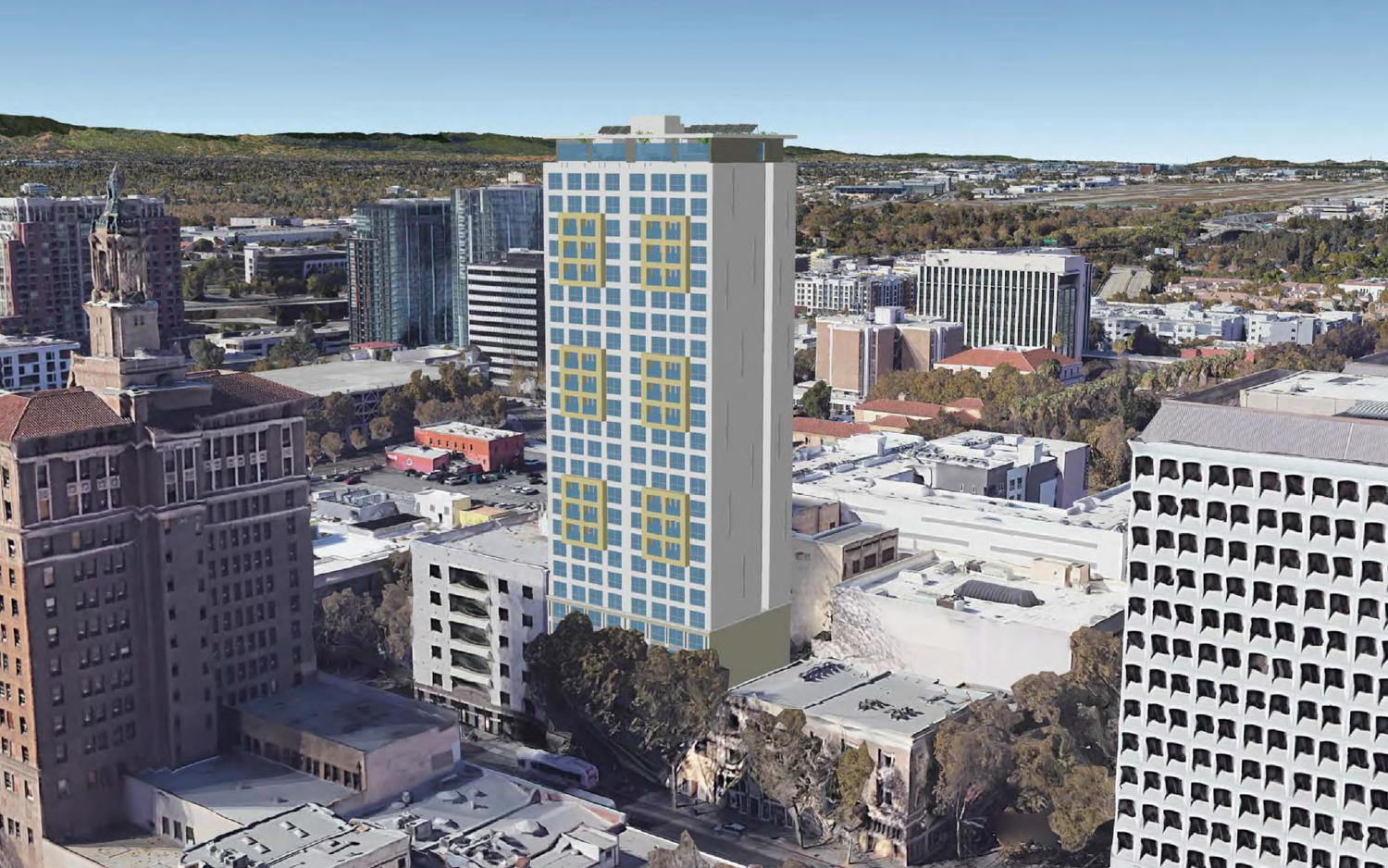 17 East Santa Clara Street aerial perspective across from the Bank of Italy, rendering by Anderson Architects