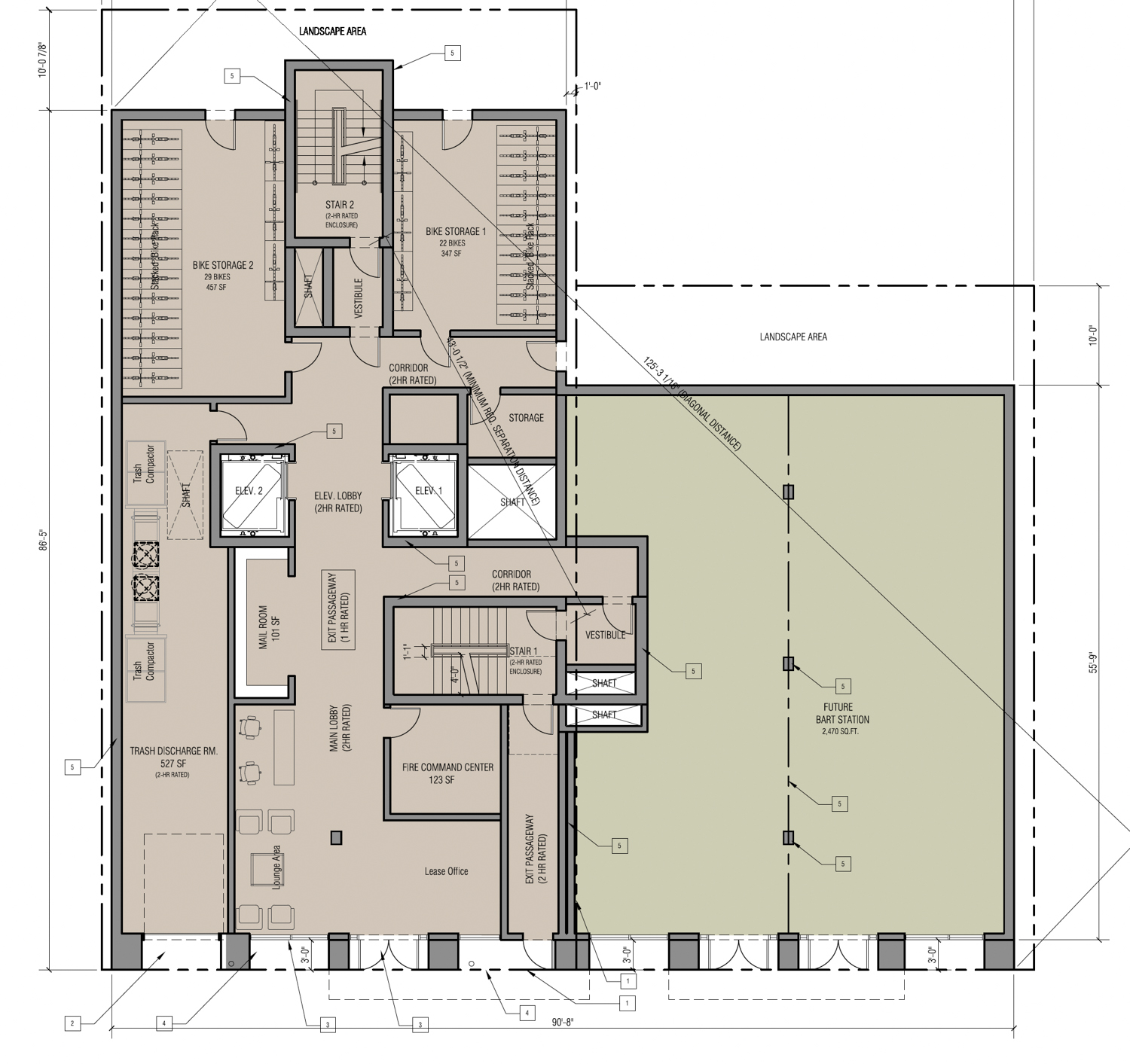 17 East Santa Clara Street first-level floor plan, rendering by Anderson Architects