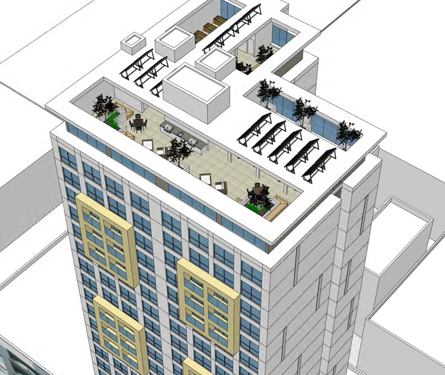 17 East Santa Clara Street rooftop view, rendering by Anderson Architects