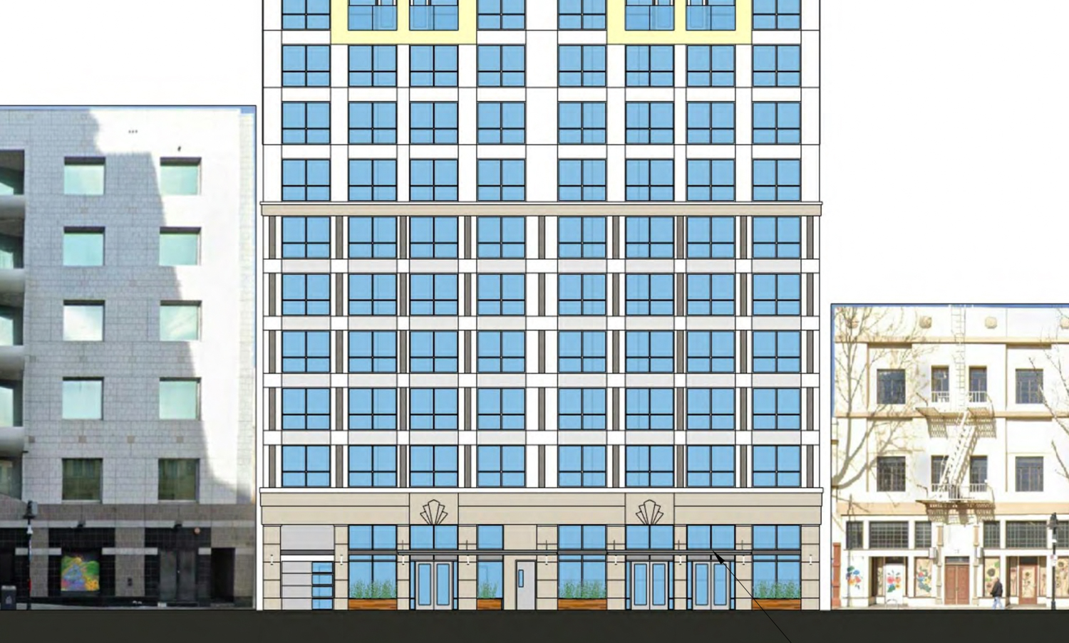 17 East Santa Clara Street street view beside existing buildings, elevation by Anderson Architects