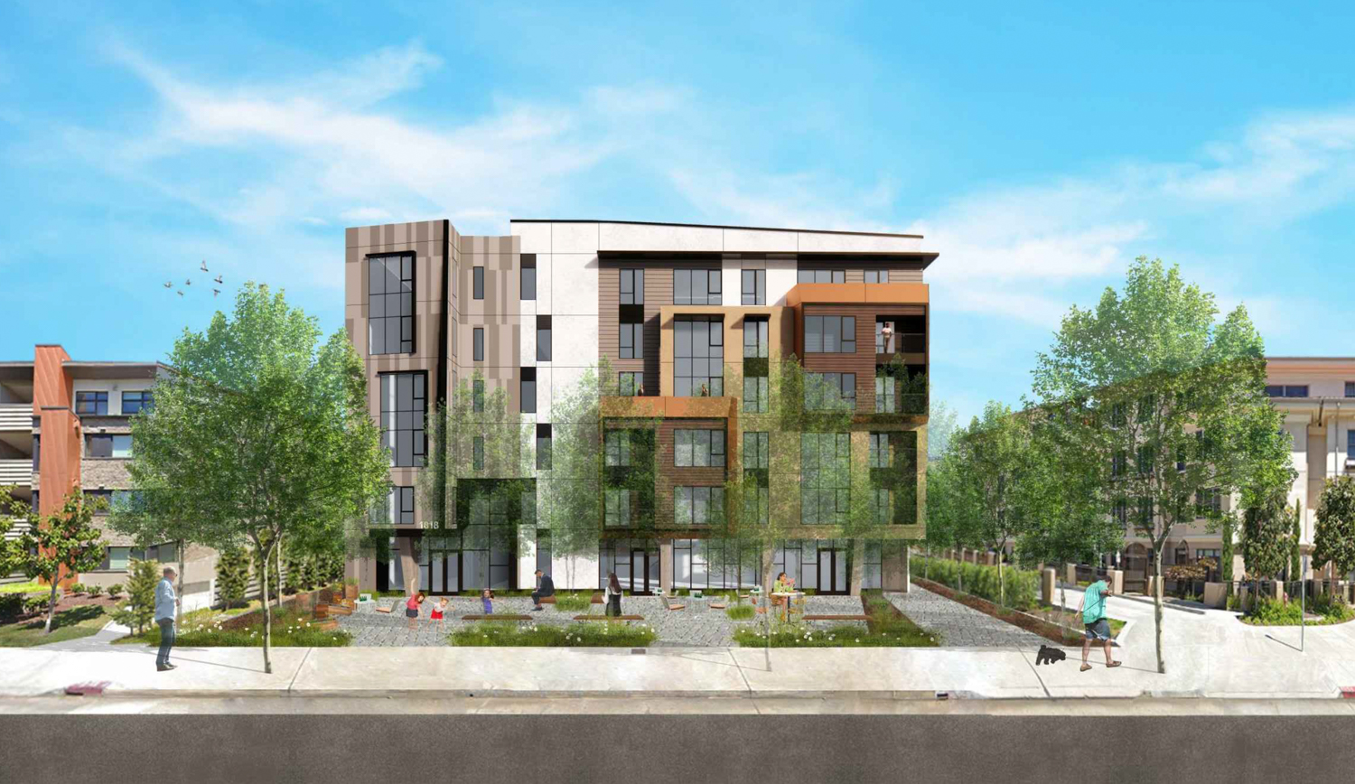 1814-20 Ogden Drive front view, rendering by Levy Design Partners