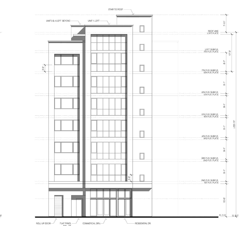 2040 Mission Street facade elevation, illustration by Hunt Hale Jones