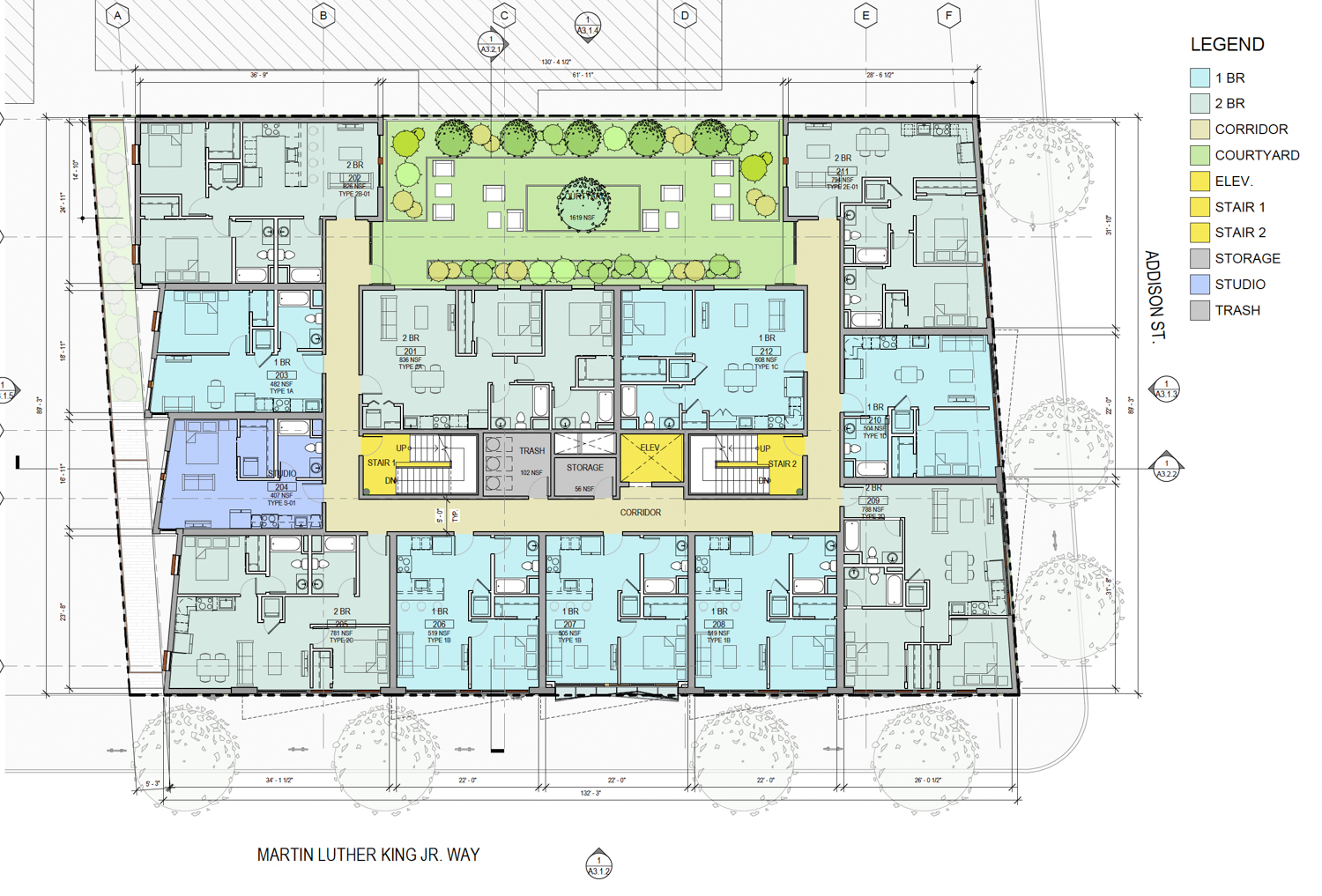 2099 Martin Luther King Jr Way floor plan, rendering by Kava Massih Architects
