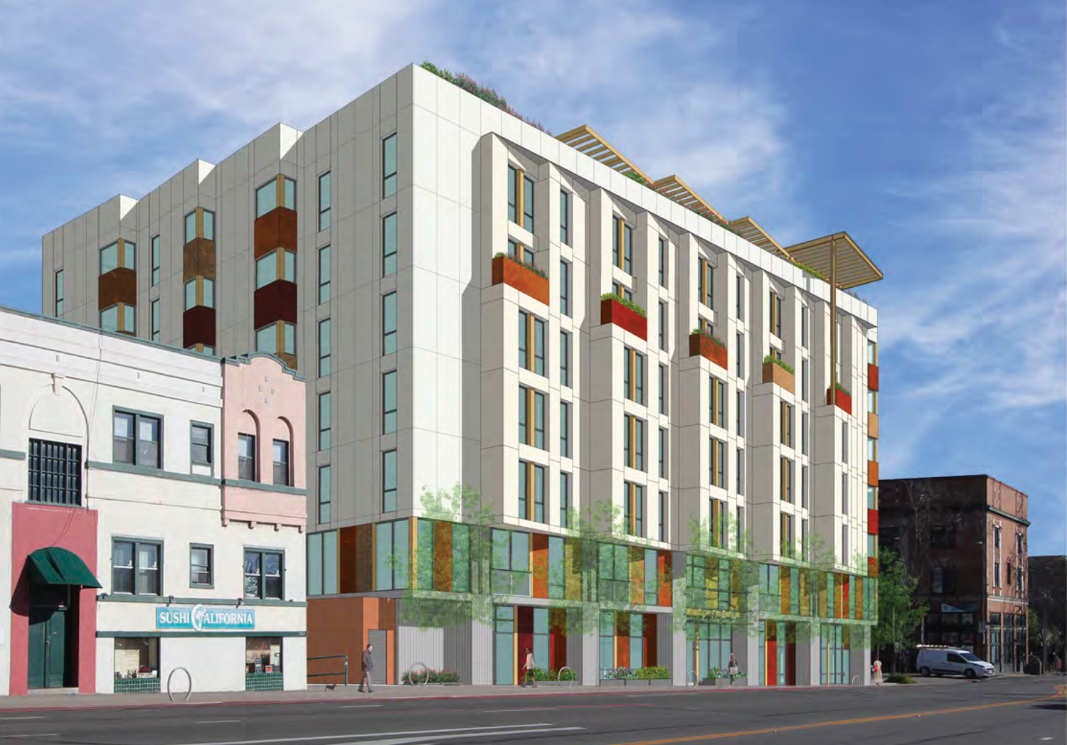2099 Martin Luther King Jr Way side-view, rendering by Kava Massih Architects