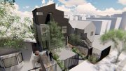 2621 Market Street aerial perspective, rendering by Baran Studio Architecture