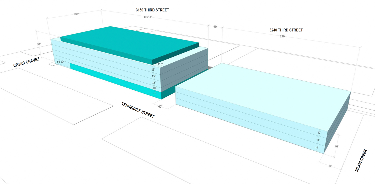 3100 Third Street proposed massing with floor-to-floor heights, elevation by Workshop1