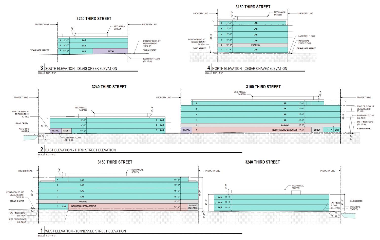 3100 Third Street vertical elevations, elevation by Workshop1
