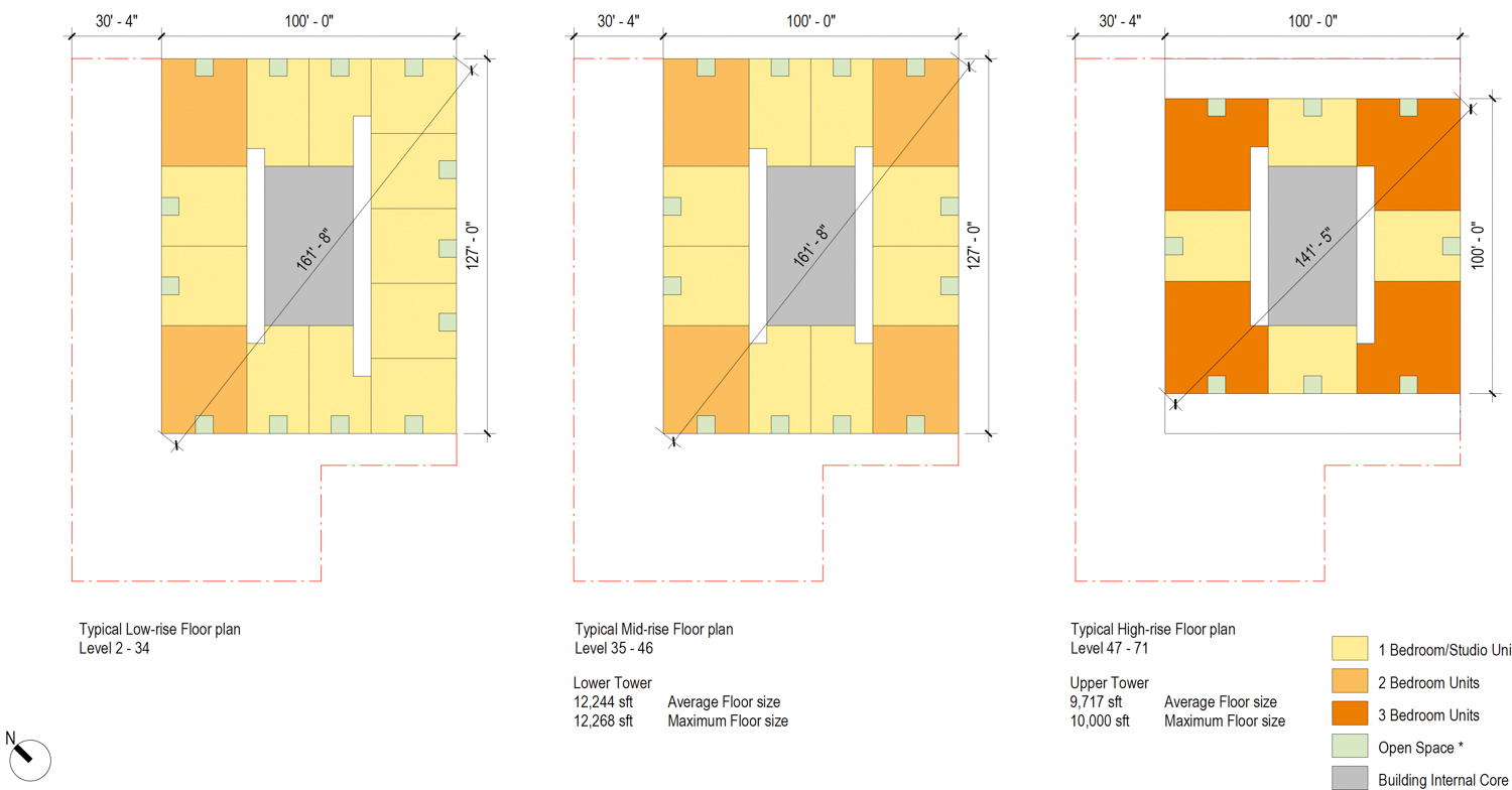 50 Main Street preliminary elevation average floor plans, illustration by Foster and Partners