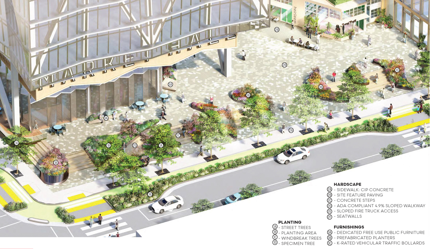 610-698 Brannan Street SF Flower Mart 5th Street Plaza aerial perspective, drawing by James Corner Field Operations