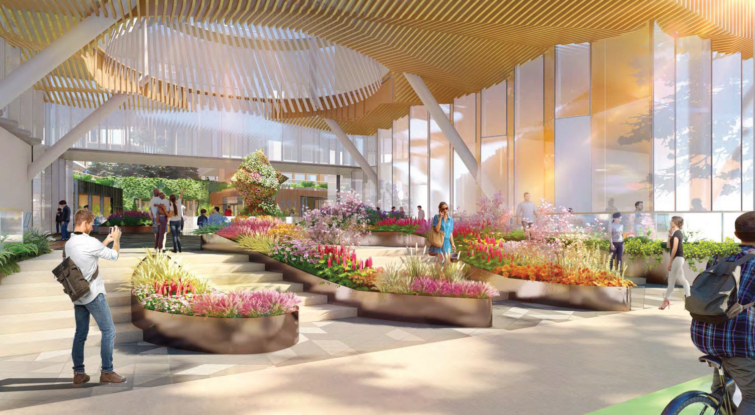 610-698 Brannan Street SF Flower Mart Oculus Plaza view with colorful planters to greet visitors, rendering via Adamson Architects and RCH Studios