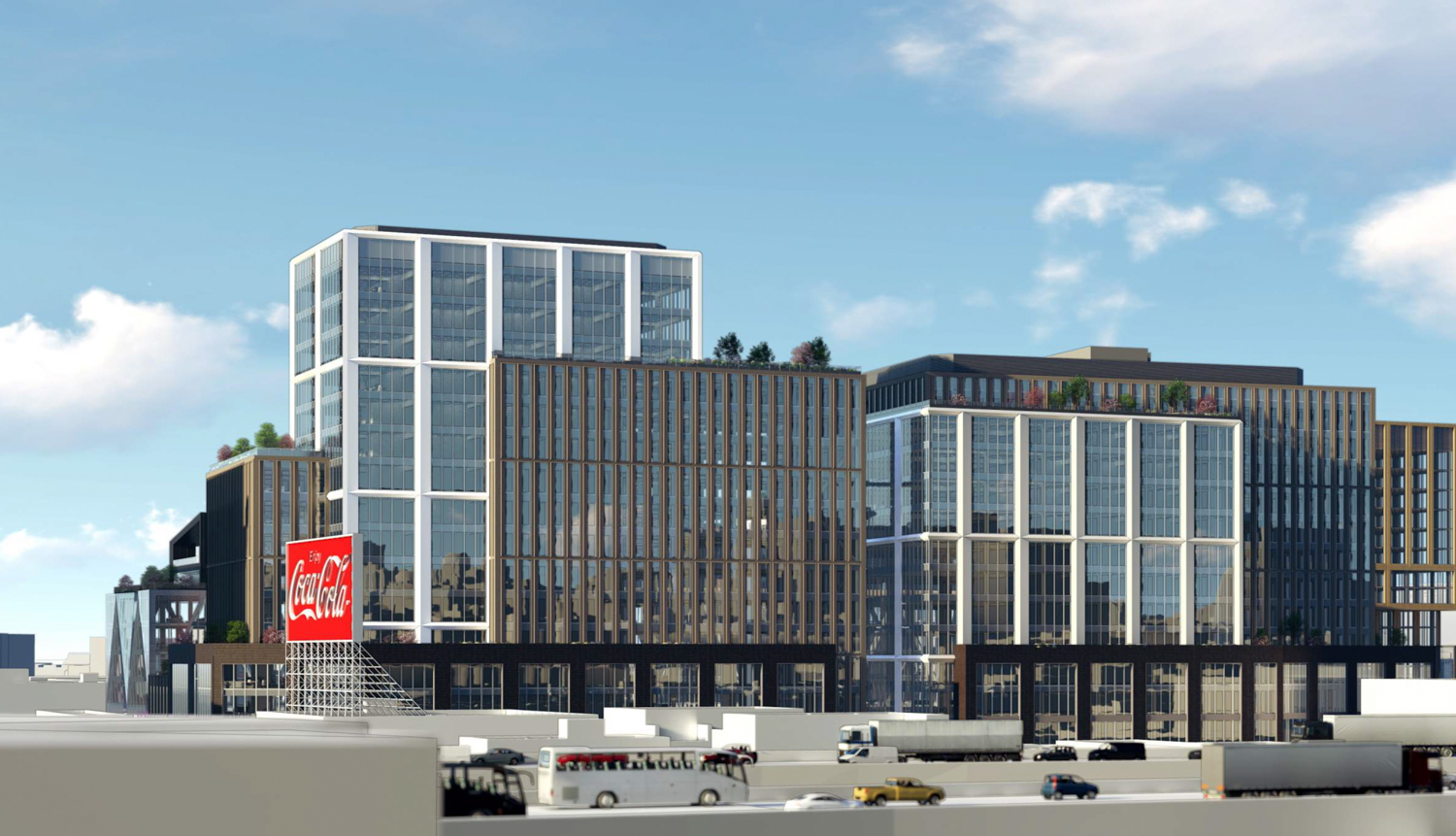 610-698 Brannan Street SF Flower Mart view from I-80, rendering via Adamson Architects and RCH Studios