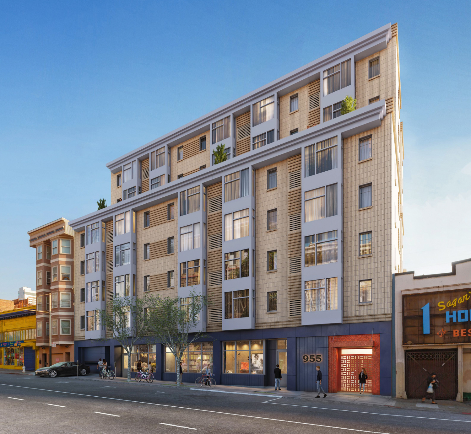 955 Post Street from Street View, rendering by Transparent House with Page & Turnbull
