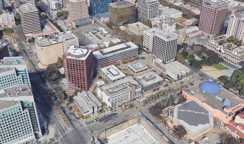 CityView Plaza existing condition, image via Google Satellite