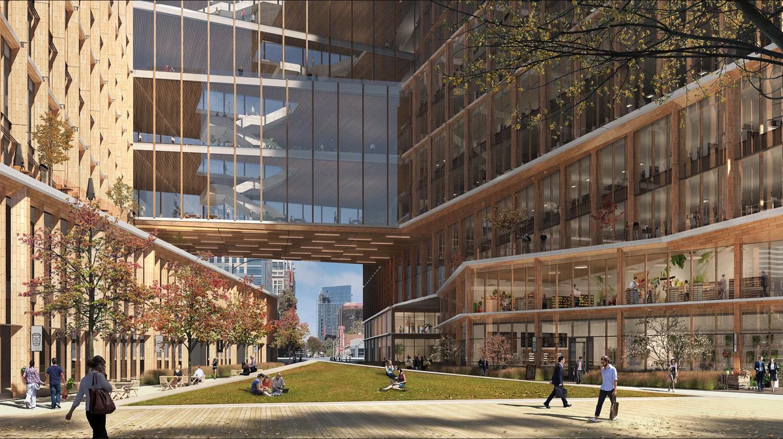 CityView Plaza pubic courtyard overlooked by the skywalk bridges, design by Gensler