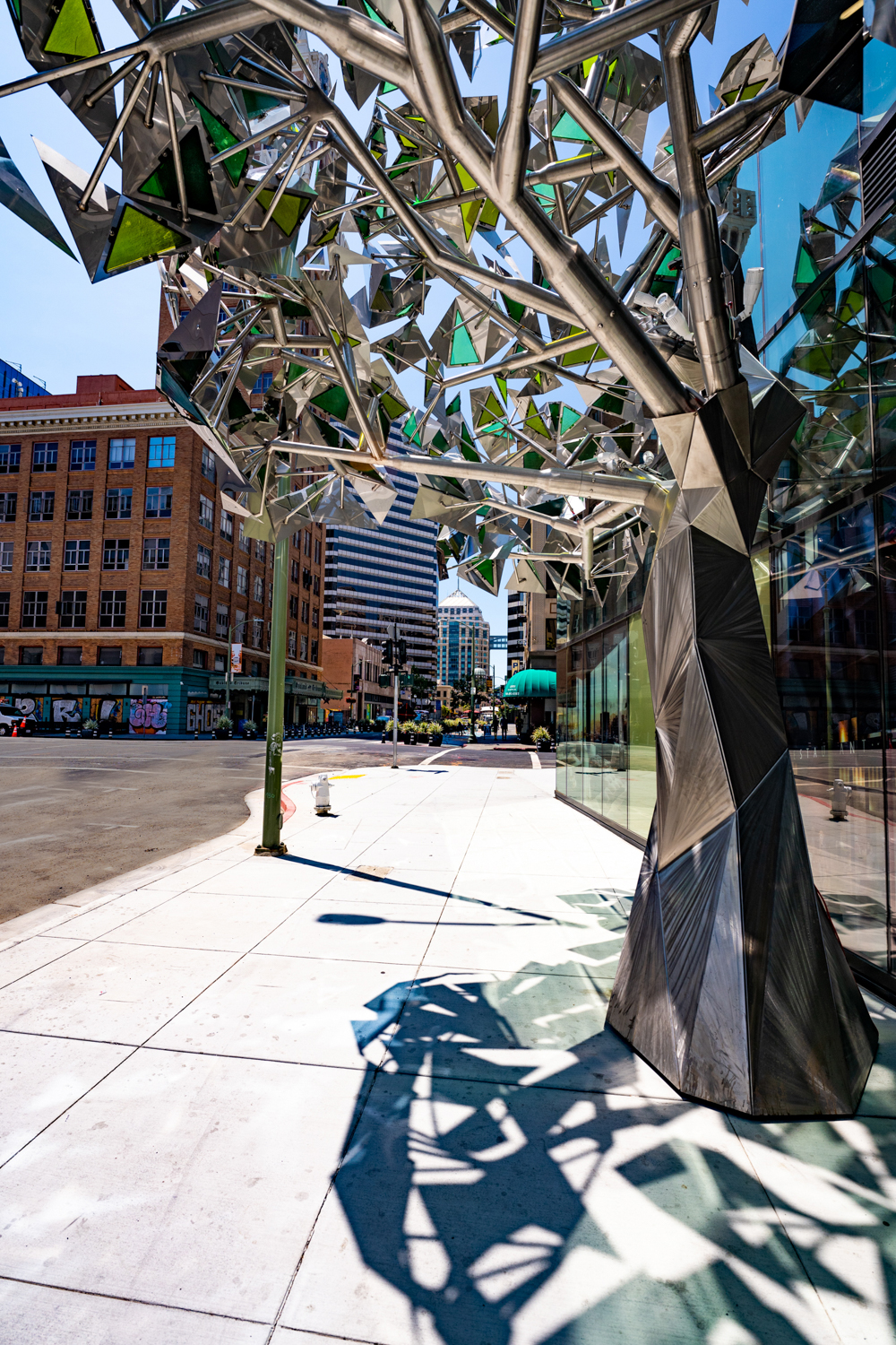 Ever Green sculpture underneath its canopy, image courtesy Carmel Partners