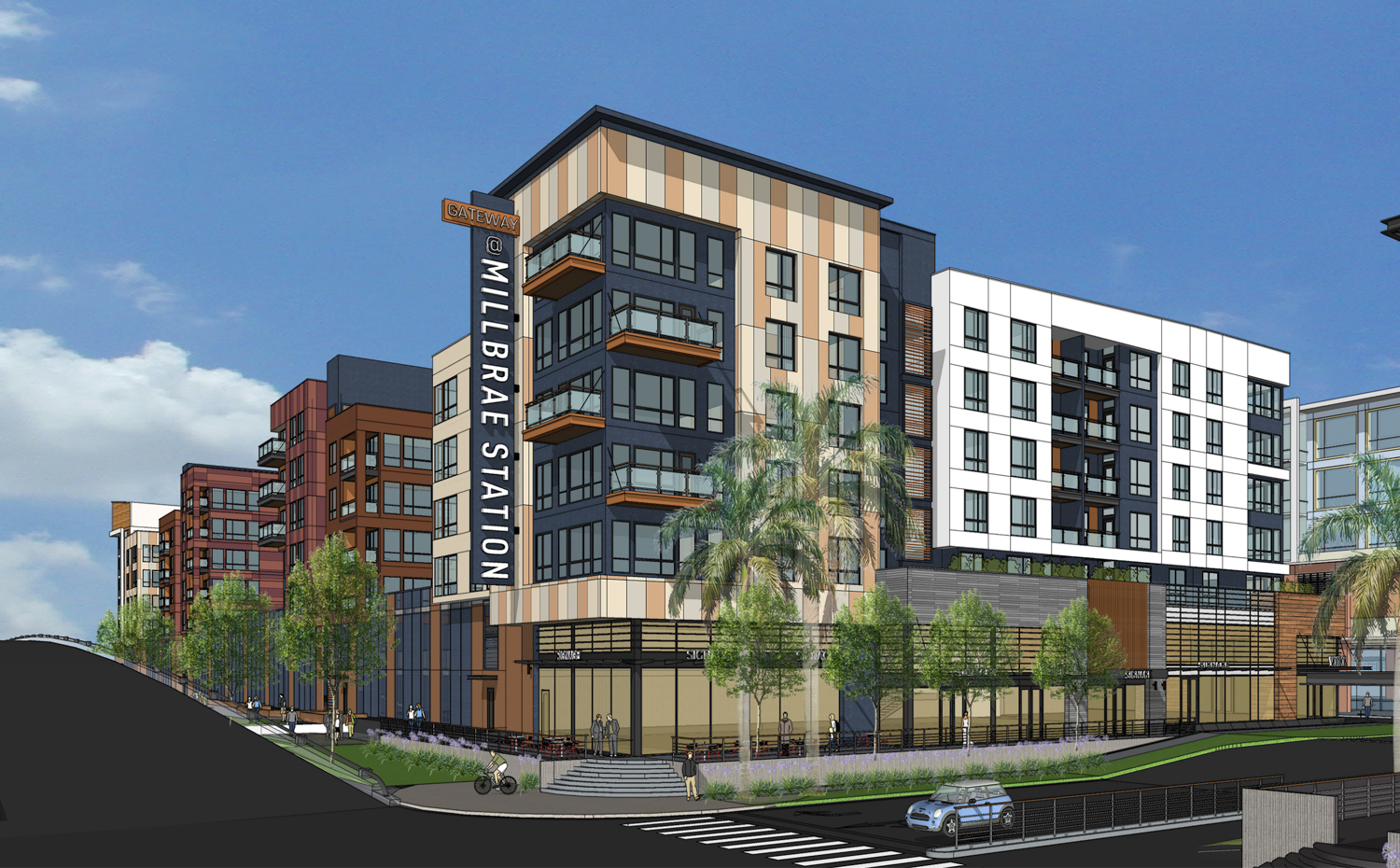 Gateway at Millbrae Station Parcel 5B apartment building, design by LPMD Architects