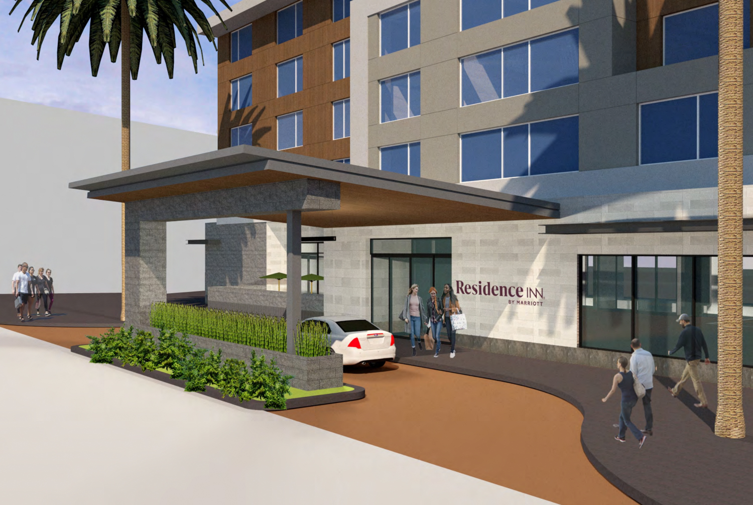 Gateway at Millbrae Station Parcel 6B Residence Inn Hotel by Marriott Porte-cochère entrance, rendering by ACRM