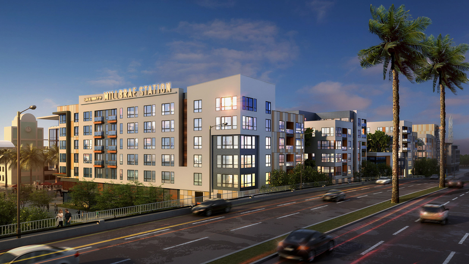 Gateway at Millbrae Station Site 5B seen from Millbrae Avenue, rendering courtesy Studio T Square