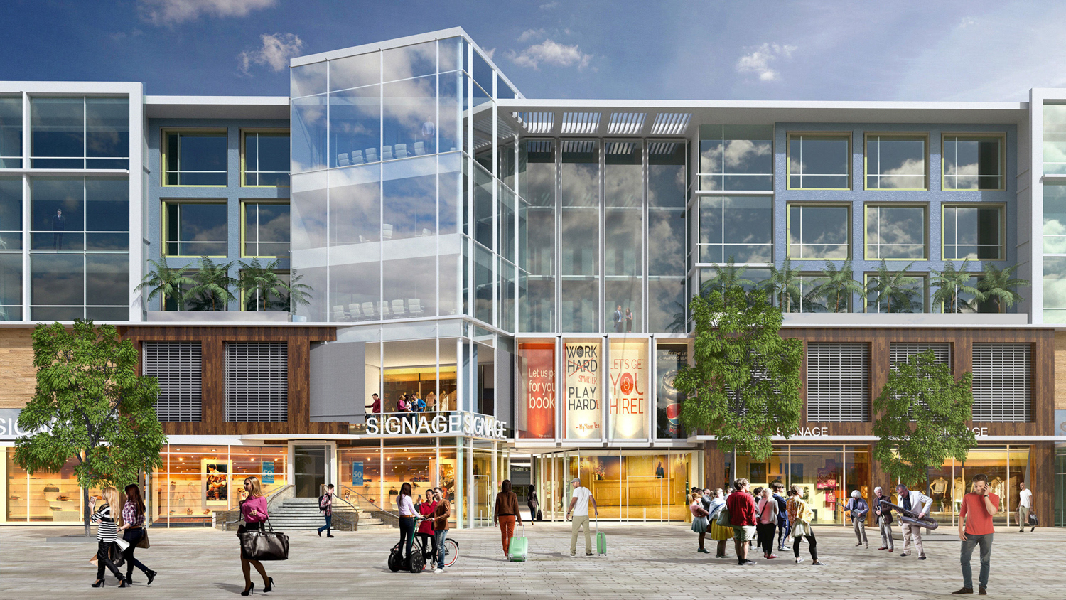 Gateway at Millbrae Station office and retail view, rendering courtesy Studio T Square