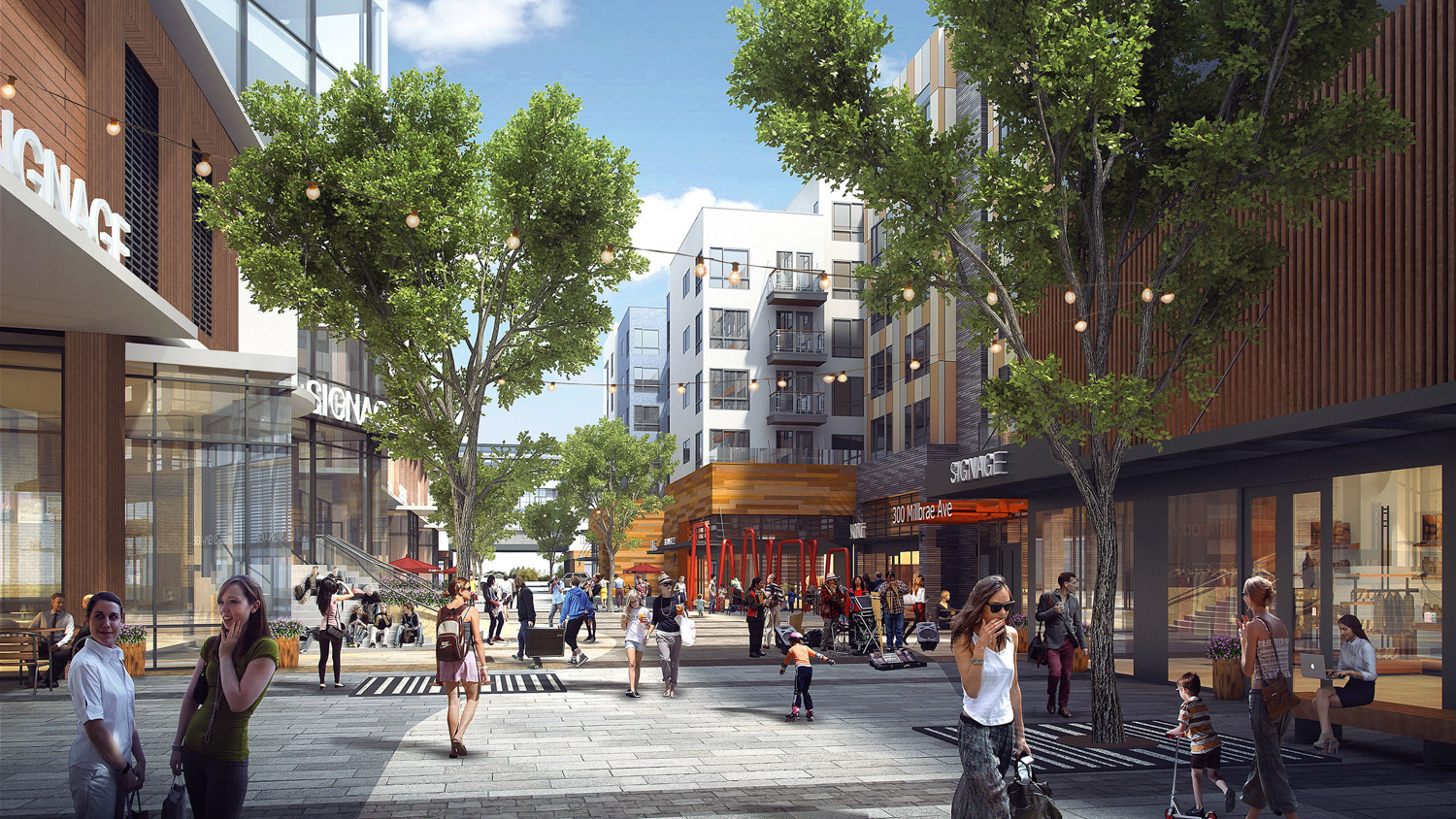 Gateway at Millbrae Station pedestrian activity, rendering courtesy Studio T Square