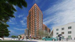 Hub Berkeley student housing tower, image courtesy DLR Group