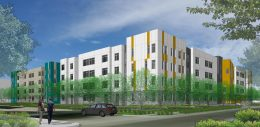 North Housing Block A view looking southwest from Mosely, rendering by HKIT Architects