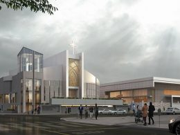 OLLV Church exterior view, rendering by SIM Architects