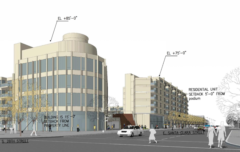 1260 East Santa Clara Street Scenario A, rendering by Steinberg Hart